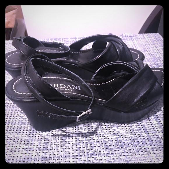 Cordani Shoes - Italian wedge sandals in black leather